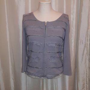 Cable & Gauge grey zipper sweater M